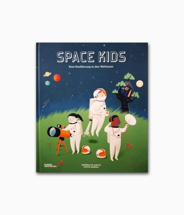Cover des Kinderbuches über das Weltall und den Weltraum mit dem Namen Space Kids vom kleine gestalten Verlag
