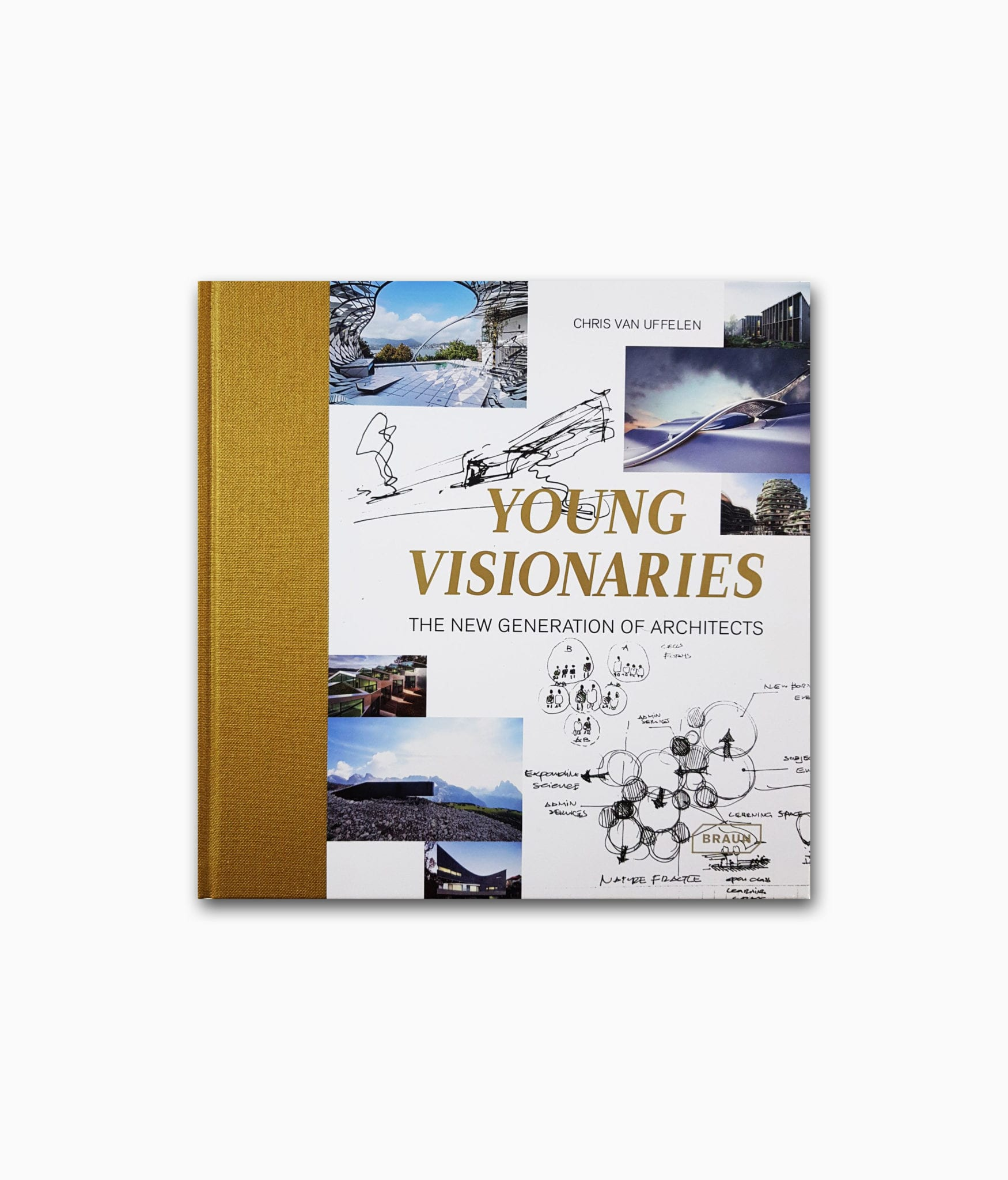 Buchcover des Buches über junge Architekten mit dem Titel Young Visionaries von Braun Publishing