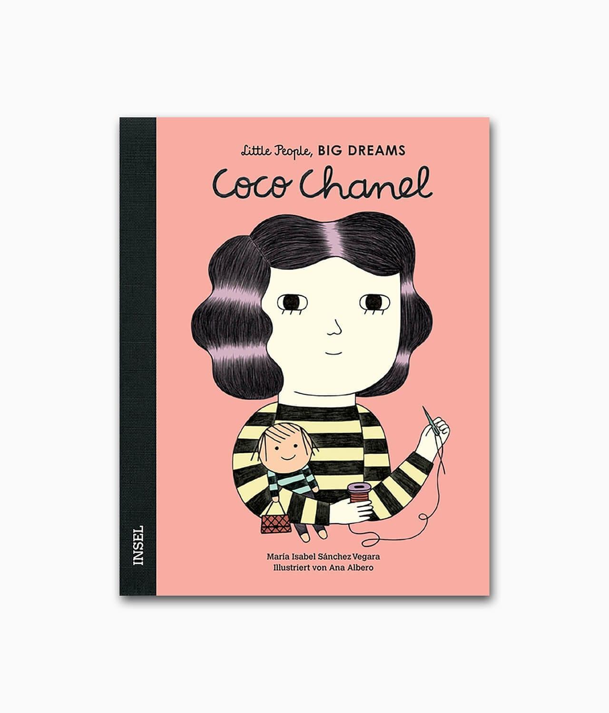 Cover eines Kinderbuches über besondere Persönlichkeiten namens Coco Chanel aus der Buchreihe Little People BIG DREAMS des Insel Verlags