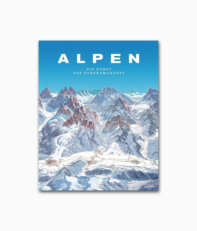 Buchcover des Natur Buches über die Kartografie der Berge mit den Namen Alpen Die Kunst der Panoramakarte aus dem Prestel Verlag