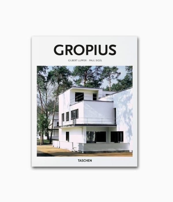 Buchcover vom Architektur Bildband über den berühmten Architekten Walter Gropius aus der kleinen Reihe des TASCHEN Verlags über den breühmten Architekten