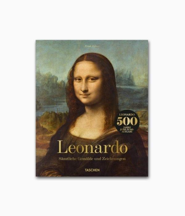 Cover des Kunstbuches mit dem Buchtitel Leonardo Sämtliche Gemälde und Zeichnungen erschienen im TASCHEN Verlag
