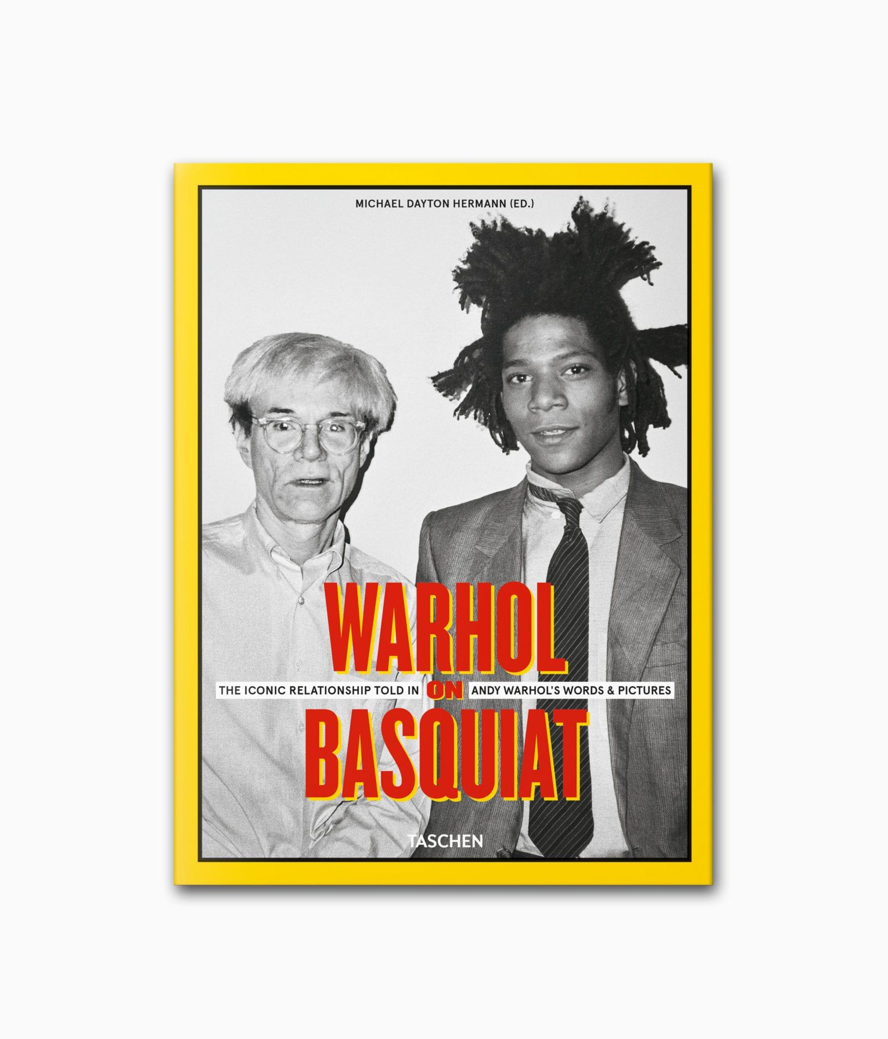 Buchcover von einem Kunstbuch über die berühmten Künstler Andy Warhol und Jean-Michel Basquiat namens Warhol on Basquiat aus dem TASCHEN Verlag