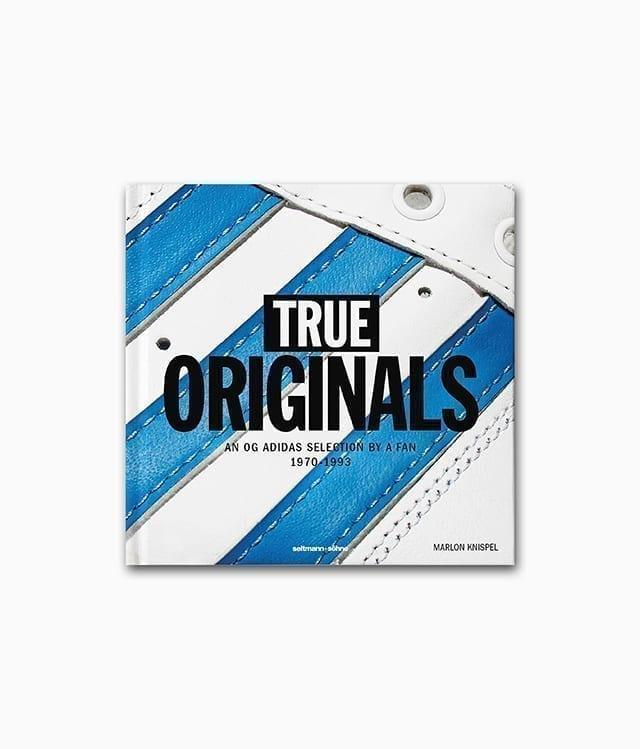 Cover von einem Sneaker Buch mit dem Titel True Originals An OG adidas selection by a fan 1970–1993 seltmann+söhne Verlag