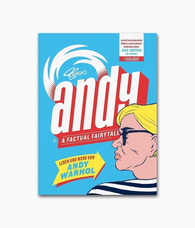 Buchcover des Graphic Novel Buches mit dem Titel Andy A Factual Fairytale Leben und Werk von Andy Warhol aus dem Carlsen Verlag