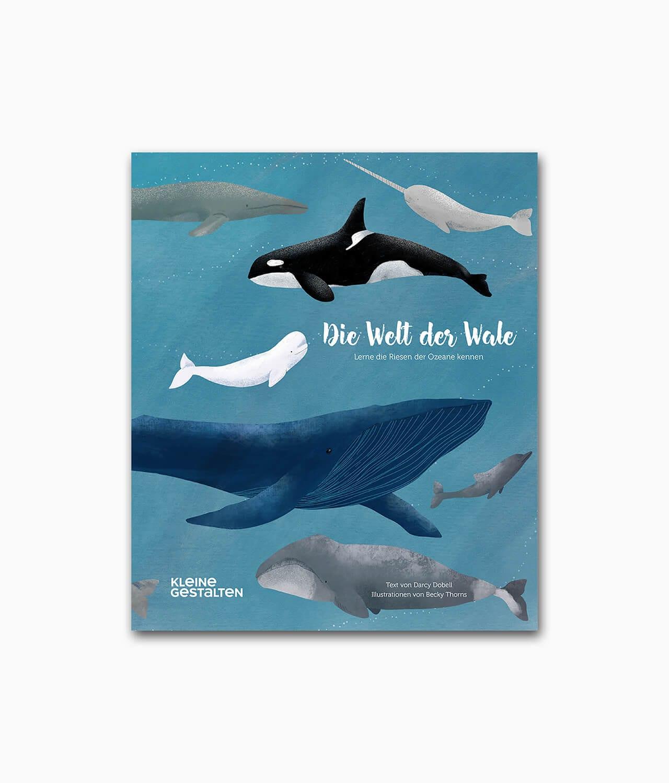 Cover des Kinderbuches über Tiere im Meer mit dem Titel Die Welt der Wale kleine gestalten Verlag