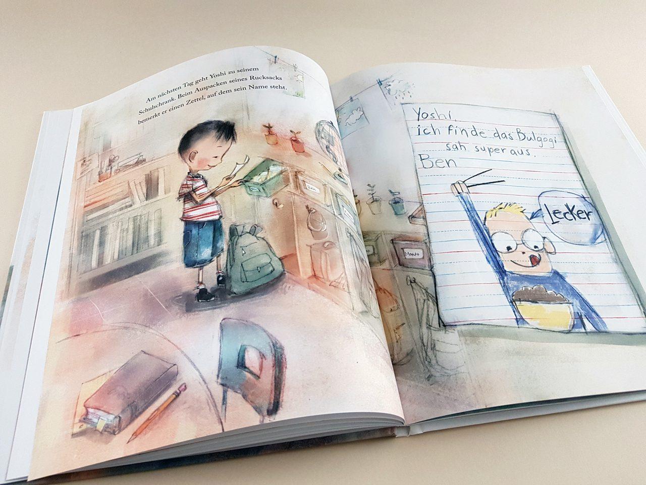 Der unsichtbare Junge Mentor Verlag aufgeschlagenes Kinderbuch