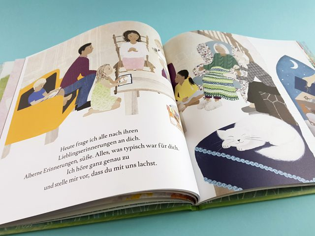 Ich werde immer bei dir sein Ein Buch über die Trauer Mentor Verlag aufgeschlagenes Kinderbuch