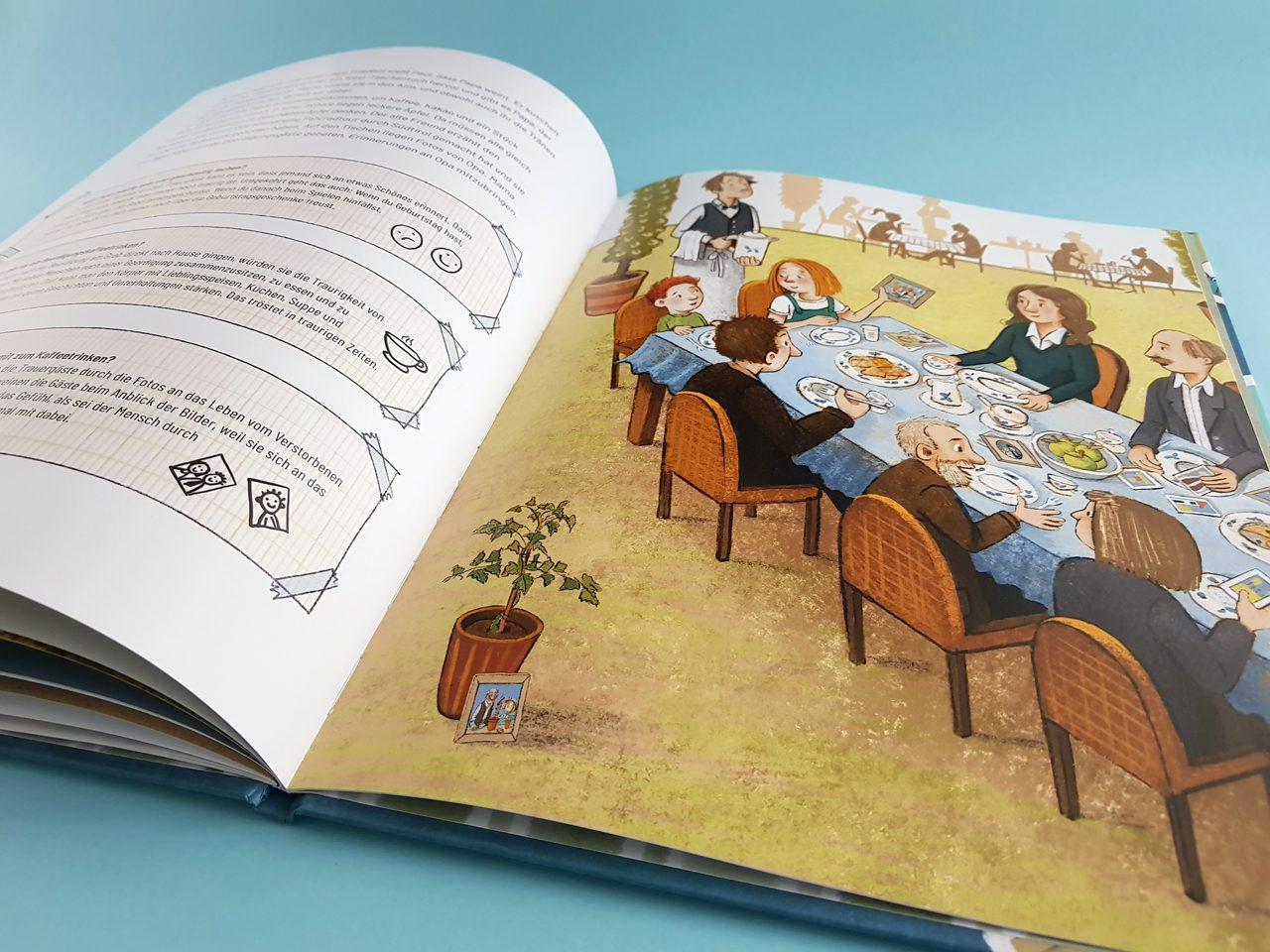 Geht Sterben wieder vorbei Gabriel Verlag aufgeschlagenes Kinderbuch